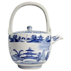 Antique Chinese Blue & White Porcelain Teapot with Lid