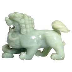 Antique Chinese Carved Jadeite Temple Lion Figure