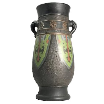 Vintage Japanese Enameled Ceramic Vase