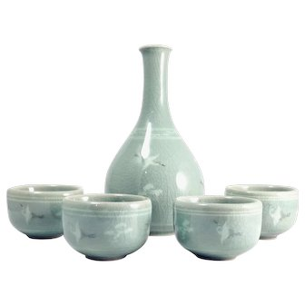 Vintage Korean Celadon Saki Set