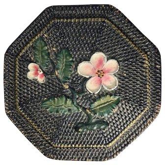 Vintage Asian Octagonal Wicker Basket with Floral Design