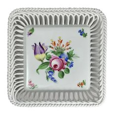 Vintage Herend Porcelain Reticulated Tray