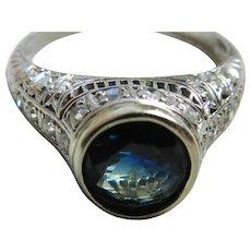 Edwardian Engagement Ring 1.5 Carat Natural Sapphire 0.50 cttw Old European Cut Diamonds 950 Platinum