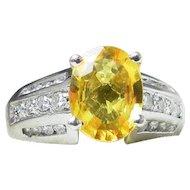 Yellow Sapphire Ring Vintage Platinum Yellow Sapphire Engagement Ring Natural Ceylon 2.0 Ct Sapphire 0.5 cttw Diamond Ring