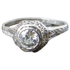 1920's Art Deco Engagement Ring Platinum Half Carat (0.50 ct) Old European Cut Diamond VS2 and color range of G/H