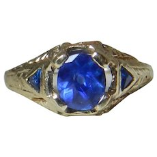 Art Deco Sapphire Engagement Ring 1.0cttw natural unheated Ceylon Royal Blue Sapphires Filigree 18k Yellow Gold