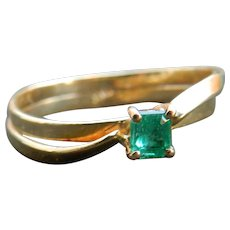 Emerald Ring 18k Vintage Columbian Emerald 0.25 carat Square shape Emerald diamond accents yellow gold
