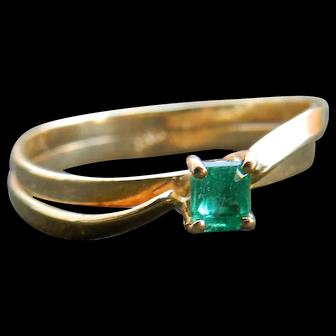 Emerald Ring 18k Vintage Columbian Emerald 0.25 carat Square shape Emerald diamond accents yellow gold
