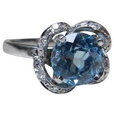 Aquamarine Ring Ostby Barton Engagement Ring Vintage Art Deco Engagement Ring 14k 1940's 2.0 Carat Aquamarine 0.16 cttw diamonds