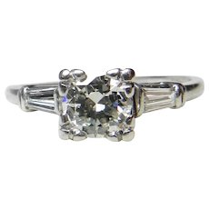 Vintage Art Deco Engagement Ring 1.0cttw Old European Cut Diamond with baguettes Diamond Engagement Ring 1950's Platinum Ring