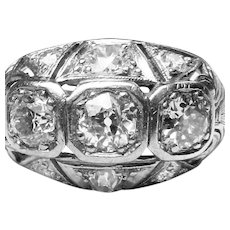 Edwardian Engagement Ring 1900's 1.50 cttw Old European Cut Diamonds Antique Platinum engagement ring