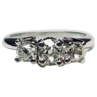 Vintage Diamond Engagement Ring Past Present Future Three Diamond Old European Cut Diamonds 1.10cttw Old Diamonds White Gold