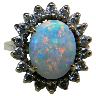 Vintage Opal Engagement Ring 1.65 carat Australian Opal Engagement Ring Colorful Opal 0.50cttw Diamond Halo 14k white gold