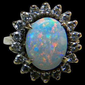 Vintage Opal Engagement Ring 1.65 carat Australian Opal Engagement Ring Colorful Opal 0.50cttw Diamond Halo 14k white gold