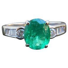 Emerald Engagement Ring Natural 1.25 ct High Grade Columbian Emerald Ring 0.37cttw Diamond accents 14k white gold Ring