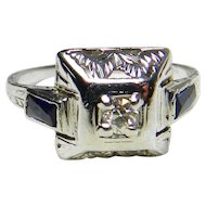 Art Deco Engagement Ring 1920's Diamond Engagement Ring 0.10 ct Old European Cut Diamond 0.40cttw Sapphire accents 14k white gold