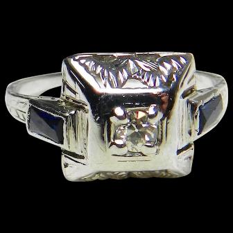Art Deco Engagement Ring 1920's Diamond Engagement Ring 0.10 ct Old European Cut Diamond 0.40cttw Sapphire accents 14k white gold
