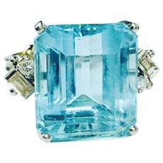 Art Deco Aquamarine Ring Vintage Estate Aquamarine Ring 14 Carat Natural Aquamarine 0.26cttw diamonds Engagement Ring 14k white gold