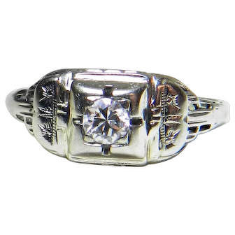 Vintage Engagement Ring Art Deco Ring 18k white gold 0.20 Carat Old European Cut Diamond 1920's Engagement Ring Orange Blossom Filagree ring