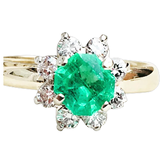 Vintage Emerald Engagement Ring Natural Fine 0.68 Carat Columbian Emerald 0.46cttw Diamond Halo 14k Yellow and White Gold