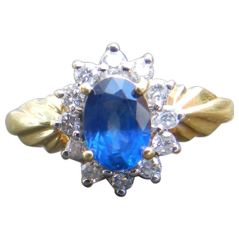 Royal Blue Sapphire Engagement Ring Vintage Art Deco Sapphire ring Diamond Halo 1.0 Ct Natural Ceylon Sapphire 0.50cttw Diamonds 18k gold