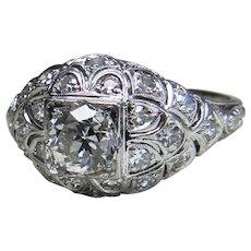 Art Deco Platinum Engagement Ring 1.10cttw Old European Cut Diamond Engagement Ring Edwardian Diamond Ring Platinum engagement ring