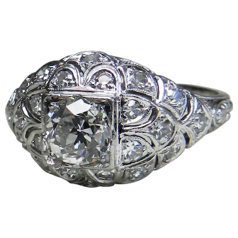 Art Deco Platinum Engagement Ring 1.10cttw Old European Cut Diamond Engagement Ring Edwardian Diamond Ring Platinum engagement ring