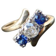 Art Deco Engagement Ring Sapphire Past Present Future Half Carat Old European Cut Diamond Ring 1920s 0.50 Carat diamond 0.50cttw sapphire