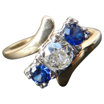 Art Deco Engagement Ring Sapphire Past Present Future Half Carat Old European Cut Diamond Ring 1920s 0.50 Carat diamond 0.50cttw sapphire