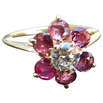 Vintage Ruby Engagement Ring Diamond Ruby Halo Ring 1.20cttw Ruby Halo Ring 0.42 carat Old European Cut Diamond 14k yellow gold