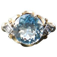 Vintage Art Deco Aquamarine Ring Art Deco Engagement Ring 3.0 Carat Aquamarine 14k Yellow gold ring 1930's ring