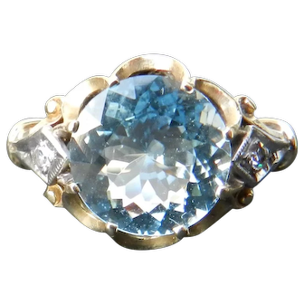 Vintage Art Deco Aquamarine Ring Art Deco Engagement Ring 3.0 Carat Aquamarine 14k Yellow gold ring 1930's ring