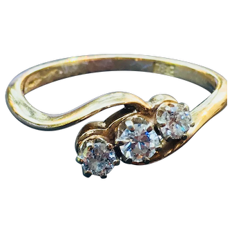 Vintage Diamond Engagement Ring Edwardian Old European Cut Diamonds 0.50cttw Past Present Future Ring 18k Yellow Gold