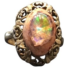 Victorian Opal Engagement Ring Antique Opal Ring 14k yellow gold Australian boulder Opal