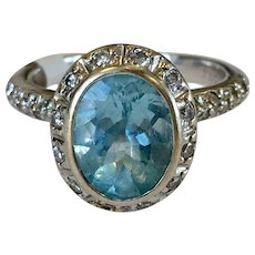 Vintage Aquamarine Engagement Ring 1.25 Carat Natural Aquamarine Ring 0.75cttw Diamond Halo Ring 18k white gold ring