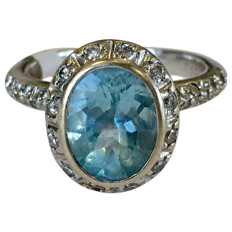 Vintage Aquamarine Engagement Ring 1.25 Carat Natural Aquamarine Ring 0.75cttw Diamond Halo Ring 18k white gold ring