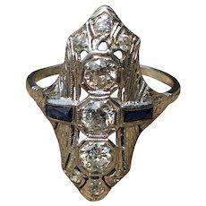 Art Deco Engagement Ring Vintage Belais 1920's ring 1.0cttw Old European Cut Diamonds 18k Filigree Ring sapphire accents