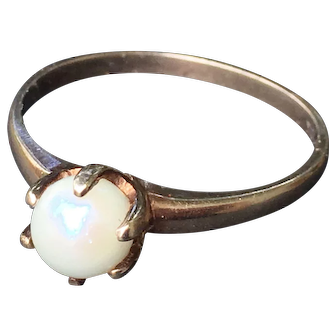 Vintage Pearl Engagement Ring Victorian Pearl Engagement Ring Cultured Pearl in 10k yellow gold setting