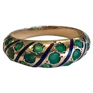 Antique Emerald Engagement Ring Art Nouveau Victorian Sapphire Ring 14k yellow gold 1900's Emerald Gypsy ring Enamel
