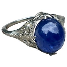 Vintage Sapphire Ring Art Deco Sapphire Engagement 6.35 Carat natural Blue Sapphire Orange Blossom Filigree 18k White Gold