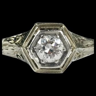 Vintage Art Deco Engagement Ring 0.40 Carat Old European Cut Diamond 1920's Engagement Ring 14k White Gold Filagree ring