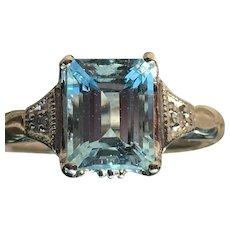 Vintage Aquamarine Engagement Ring Art Deco Aquamarine Ring 2.0 Carat  Emerald Cut Aquamarine 14k White Gold Diamond accents