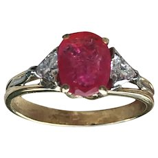 Ruby Ring Vintage Ruby Engagement Ring 1.0 Carat Ruby Engagement Ring 0.40cttw Diamonds 14k yellow gold