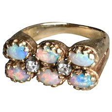 Vintage Art Deco Opal Ring Fine Australian Opals 14k yellow gold