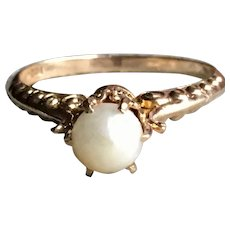 Antique Cultured Pearl Engagement Ring Victorian Pearl Engagement Ring Natural Pearl in 10k yellow gold setting
