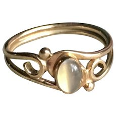 Art Nouveau Moonstone Gold Engagement Ring 0.6 Carat Moonstone 14k Yellow gold