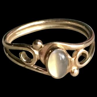 Art Nouveau Moonstone Gold Engagement Ring 0.6 Carat Moonstone 14k Yellow gold