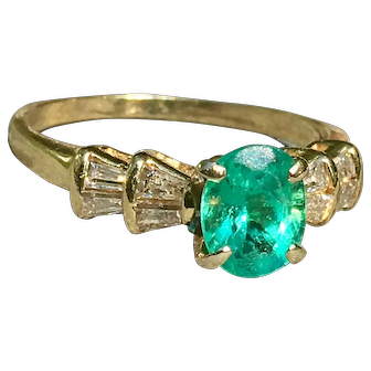 Emerald Engagement Ring Vintage Emerald Ring Vintage Emerald Diamond 1.0 Carat Oval shape Emerald 0.40cttw diamond accents 14k yellow gold