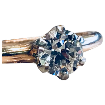 Antique Edwardian Engagement Ring 0.80 Carat Old European Cut Diamond Ring Platinum Prongs 14k yellow gold 1910's Engagement Ring