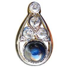 Vintage Pendant Art Deco Sapphire Diamond Pendant 3.5 Carat Cabochon Natural Sapphire 1.25cttw Old European Cut Diamonds 14k yellow gold